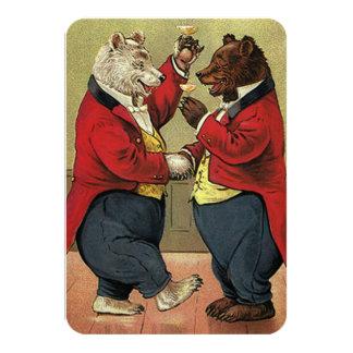 Vintage Victorian Dancing Bears Wedding RSVP Card