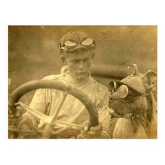 Vintage Victorian Dog and Man Driving Car Postcard