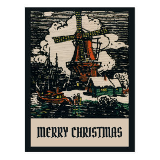 Vintage Victorian Dutch Christmas Linocut Look Postcard