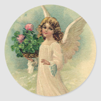 Vintage Victorian Easter Angel with Flowers Round Sticker