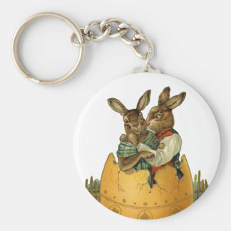 Vintage Victorian Easter Bunnies, Giant Easter Egg Basic Round Button Keychain