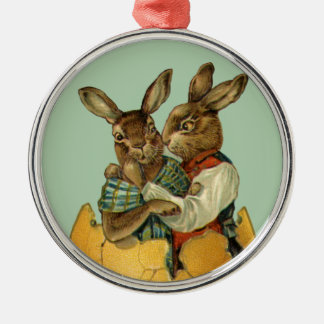 Vintage Victorian Easter Bunnies, Giant Easter Egg Silver-Colored Round Ornament