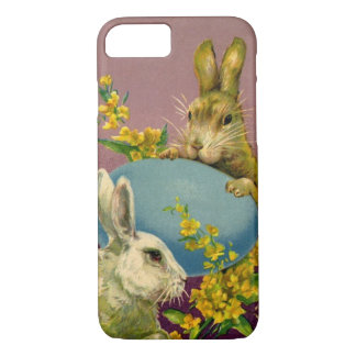 Vintage Victorian Easter Bunnies with Blue Egg iPhone 7 Case