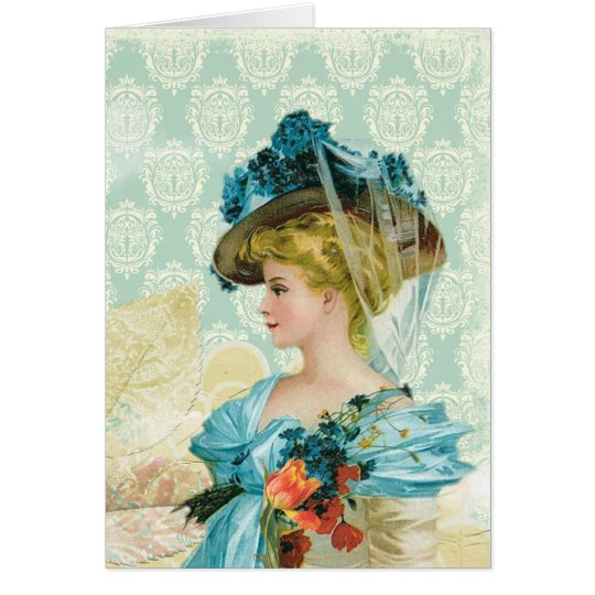 Vintage Victorian Elegant Lady Blue Lace & Flowers Card