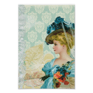 Vintage Victorian Elegant Lady Blue Lace & Flowers Poster