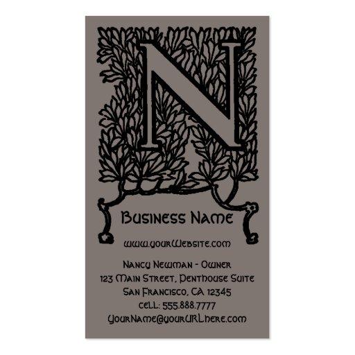 Vintage Victorian Elegant Monogram Letter N Business Cards