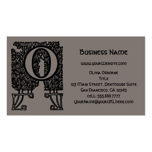 Vintage Victorian Elegant Monogram Letter O Business Cards