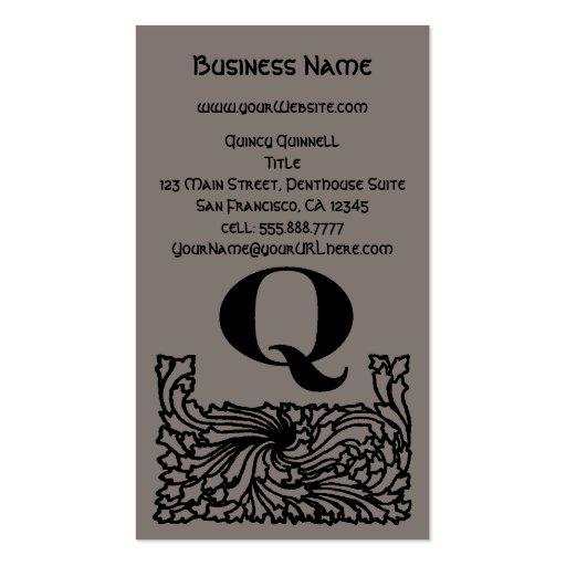 Vintage Victorian Elegant Monogram Letter Q Business Card Templates