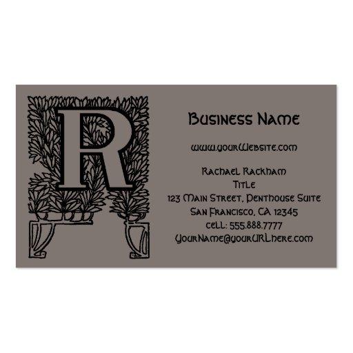 Vintage Victorian Elegant Monogram Letter R Business Card Templates
