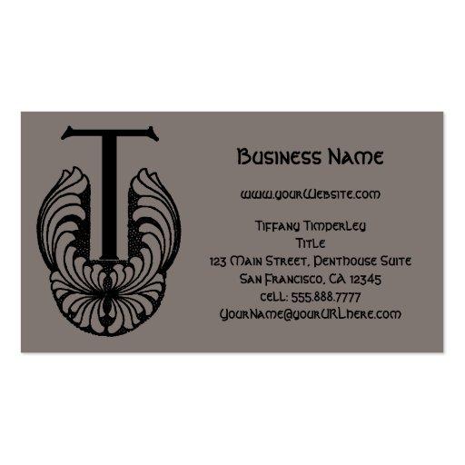 Vintage Victorian Elegant Monogram Letter T Business Card Template