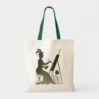Vintage Victorian Era Lady Painter Painting Budget Tote Bag