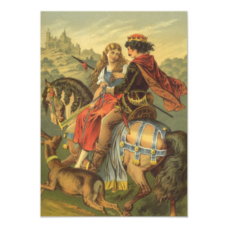 "Vintage Victorian Fairy Tale, Brother and Sister 5"" X 7"" Invitation Card"