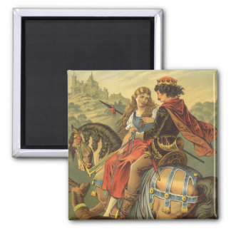 Vintage Victorian Fairy Tale, Brother and Sister Square Magnet