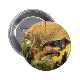 Vintage Victorian Fairy Tale, Puss in Boots Pinback Button