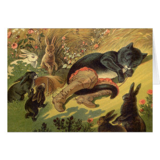 Vintage Victorian Fairy Tale, Puss in Boots Greeting Card