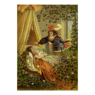 Vintage Victorian Fairy Tale, Sleeping Beauty Poster