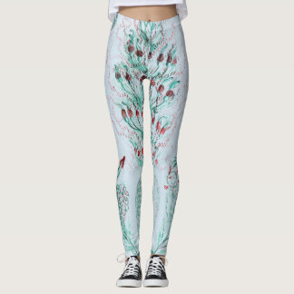Vintage Victorian Feather Print Design Leggings