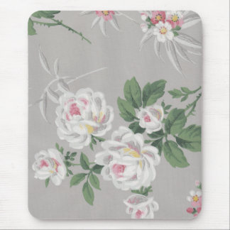 Vintage Victorian Floral Gray Wallpaper Mousepad