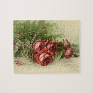 Vintage Victorian Flowers, Red Roses Jigsaw Puzzle