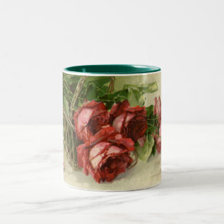 Vintage Victorian Flowers, Red Roses Two-Tone Coffee Mug