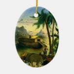 Vintage Victorian Folk Art, Noah's Ark by Hidley Ceramic Oval Ornament