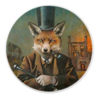 Vintage Victorian Fox Ceramic Knob
