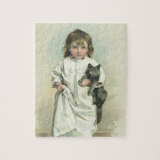 Vintage Victorian Girl in a Nightgown with Her Cat Jigsaw Puzzle