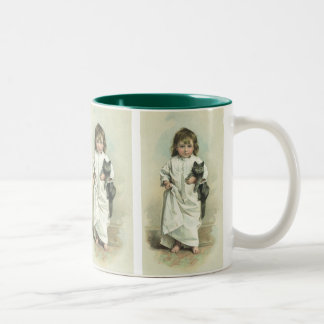 Vintage Victorian Girl in a Nightgown with Her Cat Two-Tone Coffee Mug