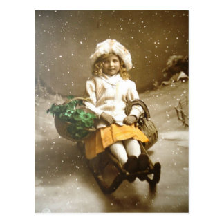 Vintage Victorian GIrl On Sled Postcard