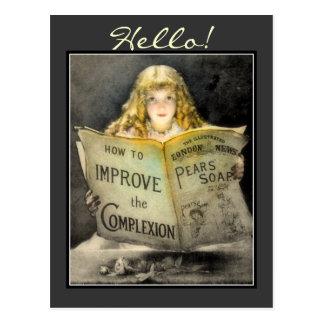 Vintage Victorian Girl Pears Soap Advert-Postcard Postcard