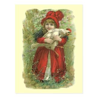 VINTAGE VICTORIAN Girl Red Cloak & bonnet POSTCARD