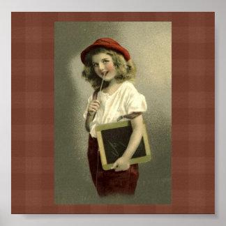 Vintage Victorian Girl School Days Art Print