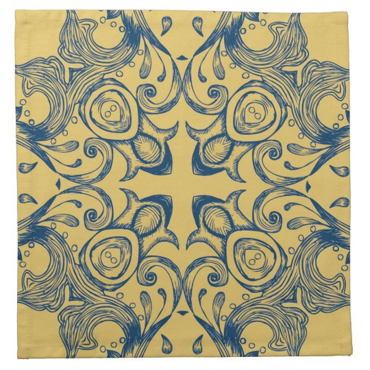 Vintage Victorian Gold and Blue Background Pattern Napkin