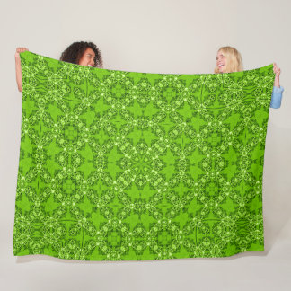 Vintage Victorian Green Satin Foulard Mandala Fleece Blanket