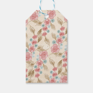 Vintage Victorian Handdrawn Pink Roses Blue Cream Gift Tags
