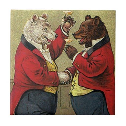 Vintage Victorian Happy, Gay, Dancing Bears Tile