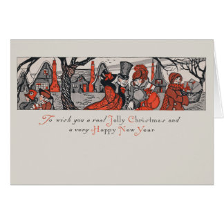 Vintage Victorian Jolly Christmas New Year Wish Card