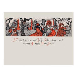 Vintage Victorian Jolly Christmas New Year Wish Postcard