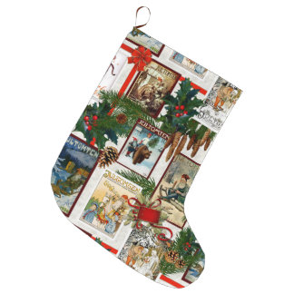 Vintage Victorian Jultomten Illustrations Large Christmas Stocking