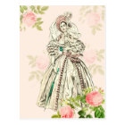 Vintage victorian lady fashion postcard in pink