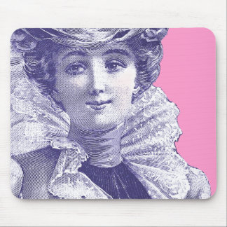 Vintage Victorian Lady Pink & Purple Mousepad