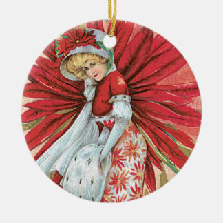 Vintage Victorian Lady Red Poinsettia Ceramic Ornament