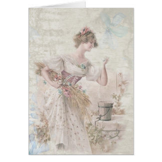 Vintage Victorian Lady Shabby Chic Flowers Card