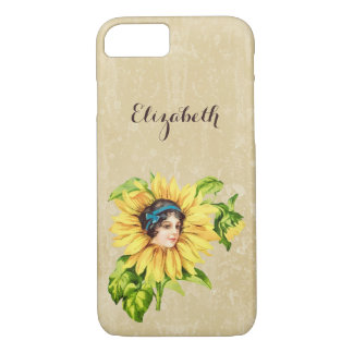 Vintage Victorian Lady Summer Sunflower With Name iPhone 7 Case