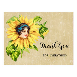 Vintage Victorian Lady Summer Sunflower With Name Postcard