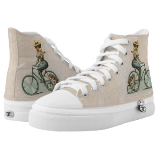 Vintage Victorian Lady with Bulldog on Bicycles High Tops