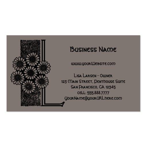 Vintage Victorian Monogram Elegant Letter L Business Card Template