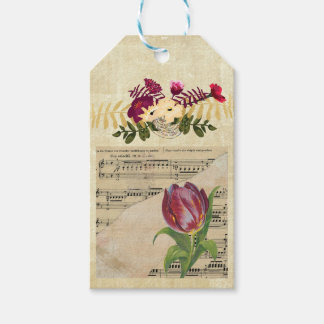 Vintage Victorian Music Romance Tulips Gift Tag Pack Of Gift Tags