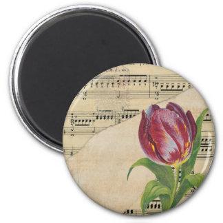 Vintage Victorian Music Romance Tulips Magnet