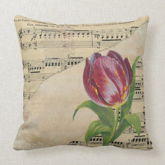 Vintage Victorian Music Romance Tulips ThrowPillow